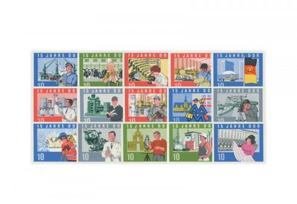 DDR Blockeinzelmarken aus Block 19 - 15 Jahre DDR 1958 Michel Nr. 1059/73 gestempelt