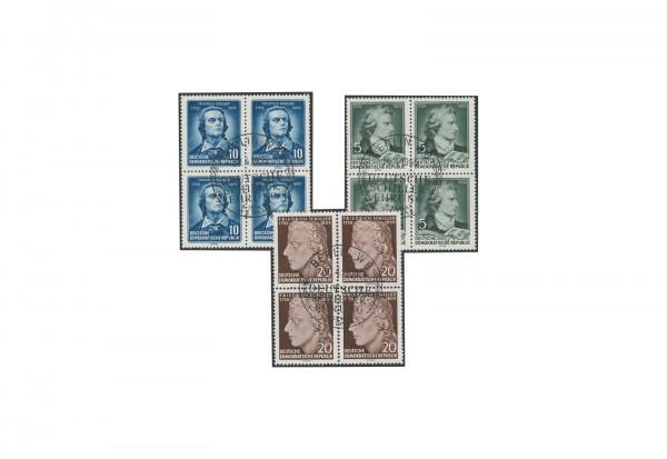 Briefmarken DDR 150. Todestag Friedrich Schiller 1955 Michel-Nr. 464/466 gestempelt VB