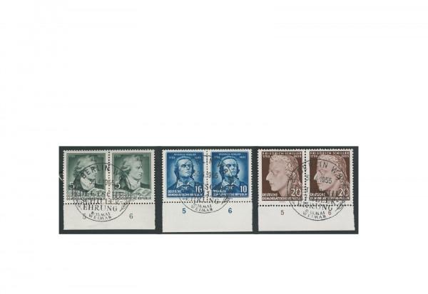 Briefmarken DDR 150. Todestag Friedrich Schiller 1950 Michel-Nr. 464-466 gestempelt