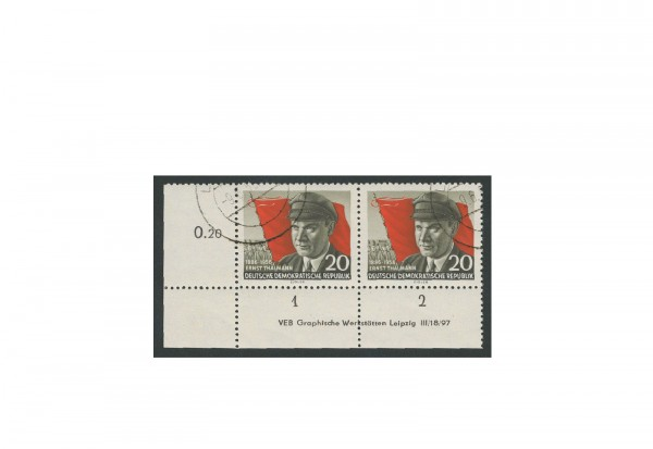 Briefmarke DDR Thälimann 1956 Michel-Nr. 520 A XII DV gestempelt
