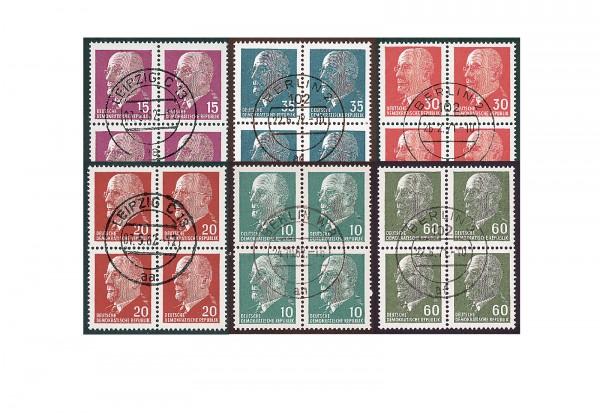 DDR Viererblocks Ulbricht 1961/67 ex Michel Nr. 845/1689 gestempelt