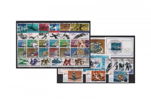 Briefmarken DDR Olympiade 12 Ausgaben auf Steckkarte gestempelt