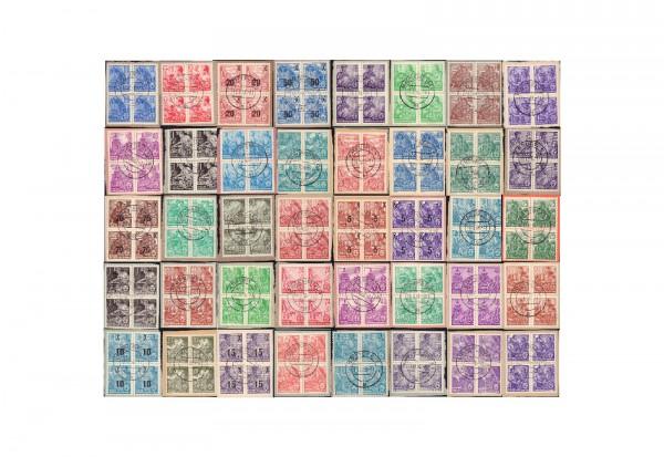 Briefmarken DDR Fünfjahrplan 40 verschiedene Viererblocks gestempelt