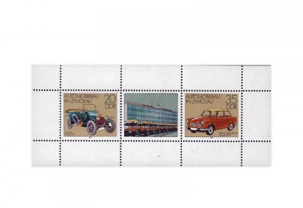 Briefmarken DDR Kleinbogen Automobilbau 1979 Michel-Nr. 2412-2413 gestempelt