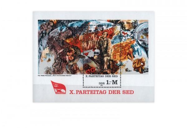 DDR Block 63 X. Parteitag der SED 1981 postfrisch