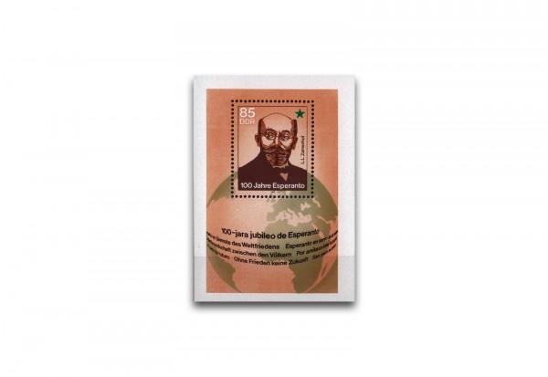 DDR Block 87 postfrisch 100 Jahre Esperanto 1987