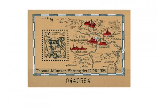 DDR Block 97 500. Geburtstag Thomas Müntzer 1989 **