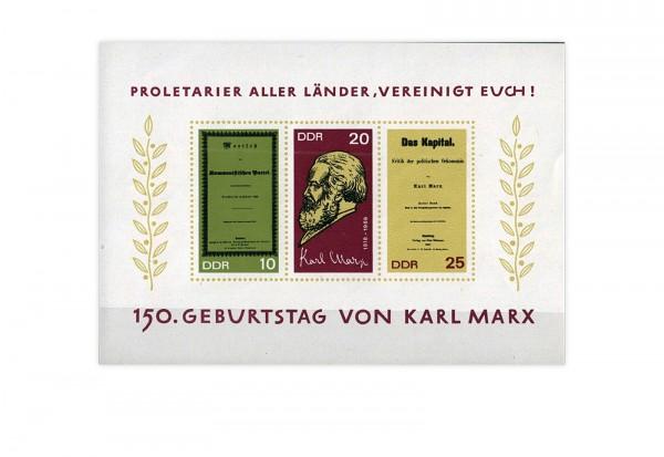 DDR Block 27 150. Geburtstag Karl Marx 1968 gestempelt