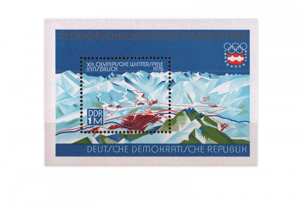 DDR Block 43 Olympische Winterspiele 1976 gestempelt