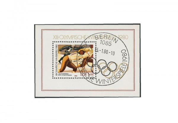DDR Block 57 Olympische Winterspiele 1980 gestempelt