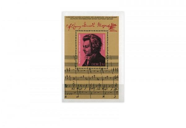 DDR Block 62 225. Geburtstag Mozarts 1981 gestempelt