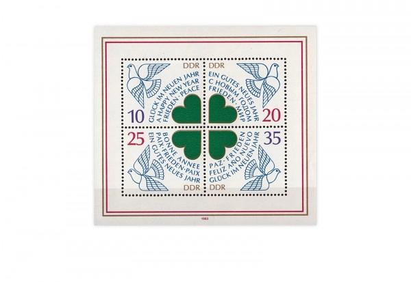 DDR Block 75 Neujahr 1984 gestempelt