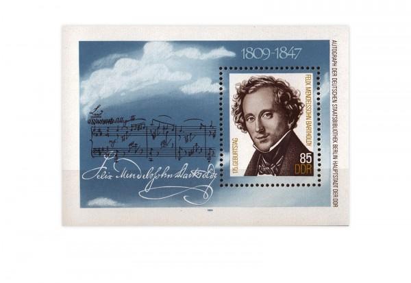 DDR Block 76 Mendelssohn Bartholdy 1984 gestempelt