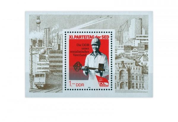 Briefmarke DDR XI. Parteitag der SED 1986 Block 83 gestempelt