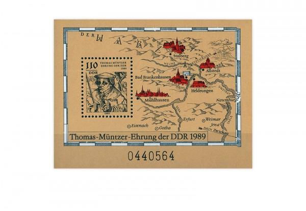 DDR Block 97 500. Geburtstag Thomas Müntzer 1989 gestempelt