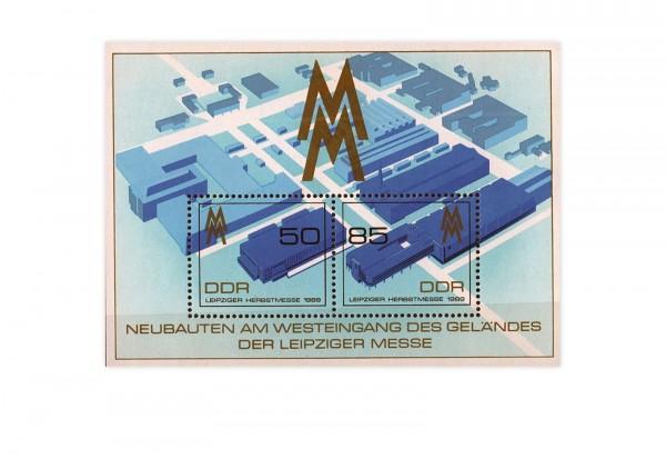 DDR Block 99 Leipziger Herbstmesse 1989 gestempelt