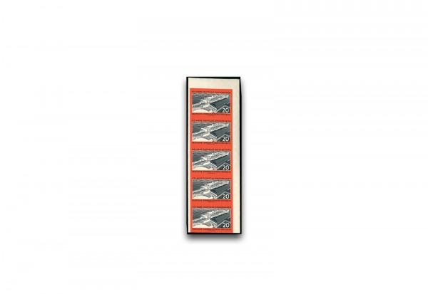 Briefmarke DDR 1960 Eisenbahnfähre Sassnitz Michel-Nr. 805 B Fünferstreifen postfrisch ungezähnt