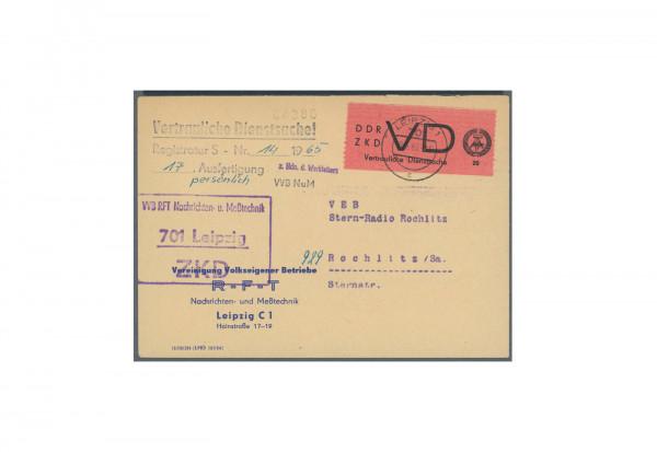 Briefmarken DDR Dienstmarken 1965 Michel-Nr. 2 Brief gestempelt