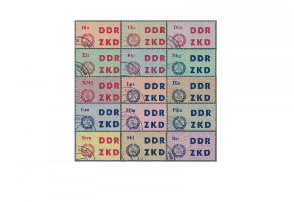 """Briefmarken DDR Laufkontrollzettel ZKD 1963 Dienst C 1/15 gestempelt """"ungültig"""""""