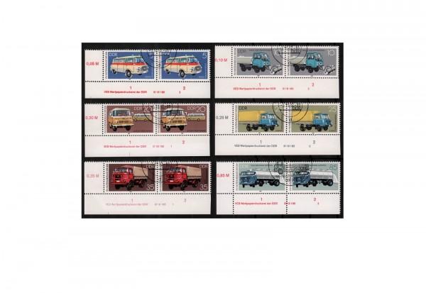 DDR Industrieverband Fahrzeugbau 1982 Michel Nr. 2744 bis 2749 gestempelt mit Druckvermerk