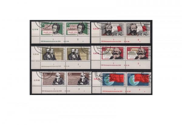 DDR 100. Todestag von Karl Marx 1983 Michel Nr. 2783 bis 2788 gestempelt mit Druckvermerk