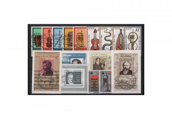 DDR Musikinstrumenten-Museum 1971 Michel Nr. 1708 bis 1713 gestempelt mit Druckvermerk