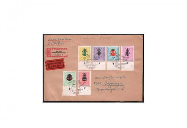 DDR Michel-Nr. 1411/1416 MiF gestempelt auf R-Brief Eilboten
