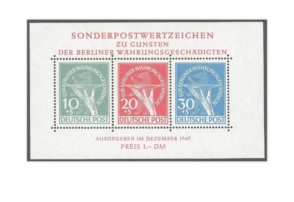 Berlin Block 1 Währungsgeschädigten-Block mit sauberem Falz