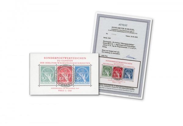 Berlin Block 1 1949 Währungsgeschädigten-Block gestempelt geprüft mit Fotoattest