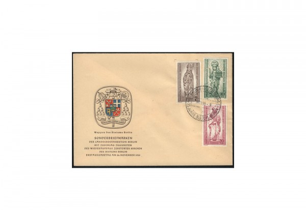 Berlin Michel-Nr. 132/134 auf FDC 25 Jahre Bistum Berlin gestempelt