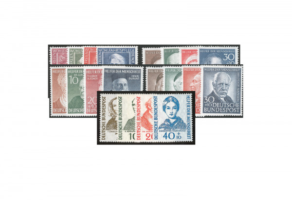 Briefmarken BRD Helfer der Menschheit 1951-1954 Michel-Nr. 117-225 postfrisch
