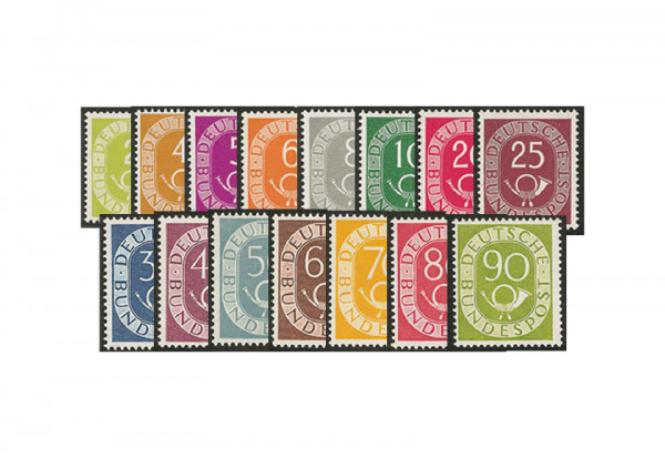 Briefmarken BRD Posthorn-Satz Michel-Nr. 123/138 ungebraucht mit Erstfalz