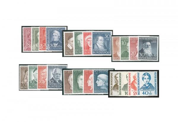 Briefmarken BRD Helfer der Menschheit Set Michel-Nr. 117-120,143-146,156-159,173-176,200-203,222-22