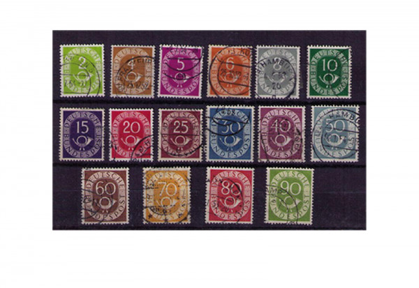 Briefmarken BRD Posthorn 1951 Michel-Nr. 123-138 gestempelt