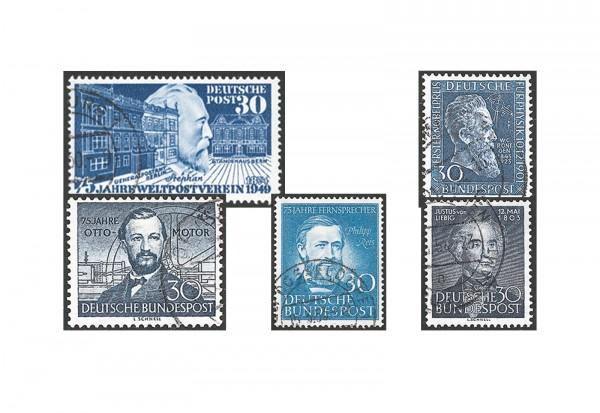 Briefmarken BRD Blaues Quintett 1949-1953 Michel Nr. 116,147,150,161,166 gestempelt