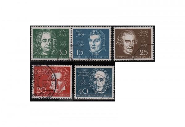 Briefmarken BRD Beethovenblock 1959 Michel-Nr. 315/19 gestempelt
