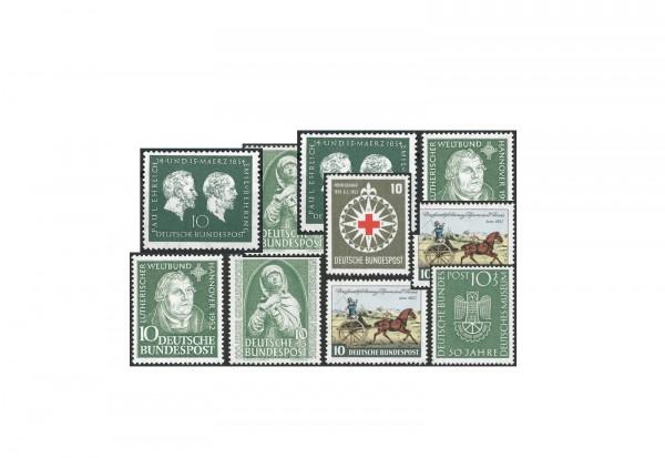 Briefmarken BRD Die grünen 10er Set Michel-Nr. 149, 151, 160, 163, 164 und 197 gestempelt