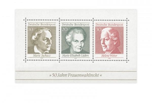 Briefmarken BRD 50 Jahre Frauenwahlrecht 1969 Block 5 postfrisch