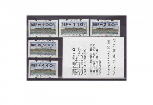 BRD ATM 2.2.2 TS gestempelt Mettler-ATM; 5 Werte
