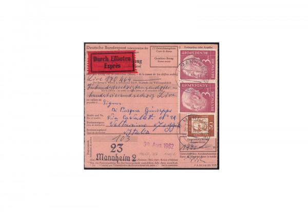 BRD Heuss 1954 Michel Nr. 196 gestempelt auf Auslands-Express-Anweisung