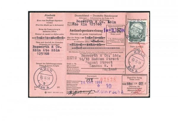 Auslandspostanweisung BRD Mi.Nr. 189 Heuss inkl. Coupon