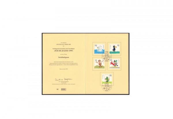 Briefmarken BRD 1999 auf Ministerkarte Michel-Nr. 2055-2059 gestempelt