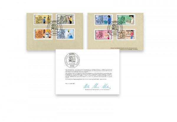 Briefmarken Berlin und BRD Michel Nr. 780-783 und 1315-1318 auf Klappkarte gestempelt