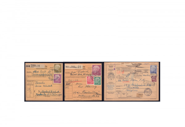 BRD Heuss I - Paketkarten Lot mit verschiedenen Bedarfsstücken