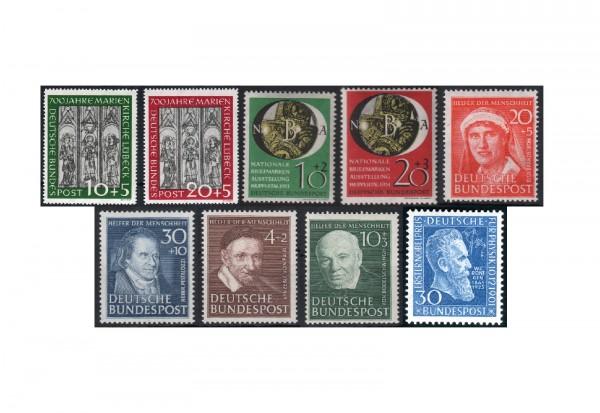 BRD Jahrgang 1951 (ohne Posthornsatz) Michel Nr. 139-147 postfrisch