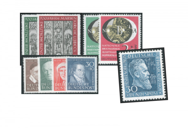 BRD Briefmarken Jahrgang 1951 (ohne Posthorn) gestempelt