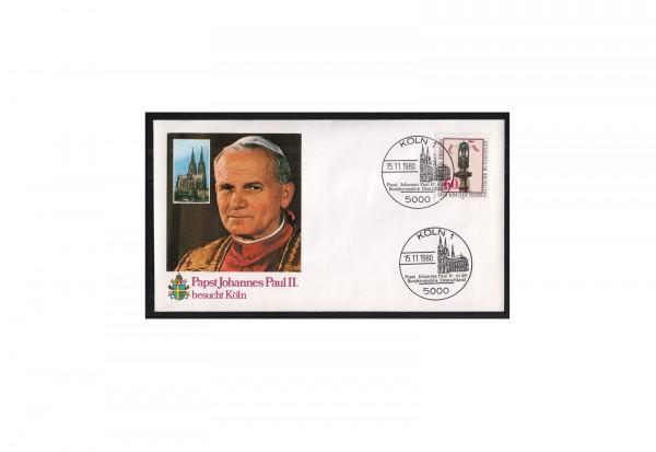 BRD Papstbesuch Köln 1980 und 1987 Michel Nr. 1064 und 1320 gestempelt je mit passendem SST