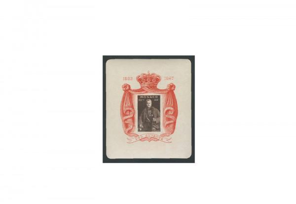 Briefmarke Monaco 25. Jahrestag der Thronbesteigung 1947 Block 2 postfrisch