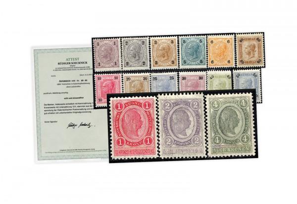 Österreich Kaiserreich Mi.Nr. 69/83 ** Kaiserkopf in Hellerwährung mit Fotoattest Soecknick