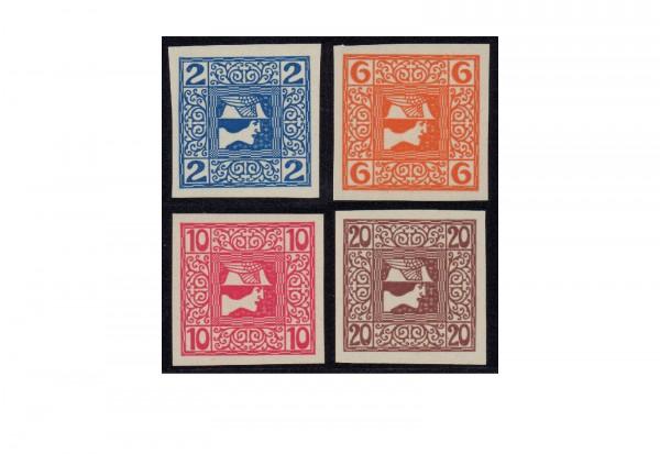 Briefmarken Österreich Kaiserreich 1908-1910 Michel-Nr. 157-160 x Merkurkopf postfrisch mit Befund